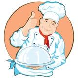 Chef-kok met een schotel Stock Afbeelding