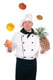 Chef-kok met fruit stock foto