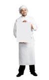 Chef-kok met geïsoleerdei afficheraad Stock Foto