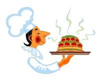 Chef-kok met geurige in hand schotel Stock Afbeeldingen