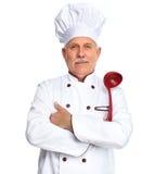 Chef-kok met gietlepel Royalty-vrije Stock Foto's