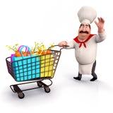 Chef-kok met groentenkarretje Stock Fotografie
