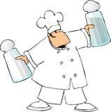 Chef-kok met grote zout en peperschudbekers vector illustratie