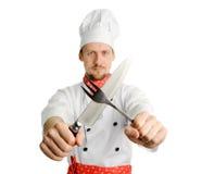 Chef-kok met hulpmiddelen Stock Afbeelding