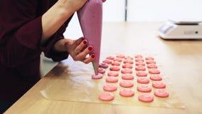 Chef-kok met injecteur die macaron beslag drukken stock videobeelden