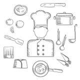 Chef-kok met keuken en voedselpictogrammen Stock Afbeelding