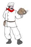 Chef-kok met kippenvoedsel Royalty-vrije Stock Afbeeldingen