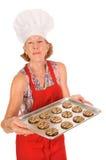 Chef-kok met koekjes Stock Foto's