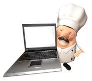 Chef-kok met laptop Royalty-vrije Stock Afbeeldingen