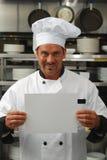 Chef-kok met leeg teken Royalty-vrije Stock Afbeelding