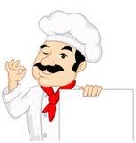 Chef-kok met leeg teken Royalty-vrije Stock Fotografie
