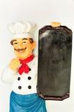 Chef-kok met menu stock foto's