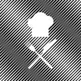 Chef-kok met mes en vorkteken Vector pictogram Gat in moiré backg stock illustratie