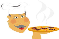 Chef-kok met pizza Royalty-vrije Stock Foto