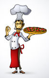 Chef-kok met pizza in zijn hand Royalty-vrije Stock Afbeeldingen