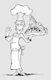 Chef-kok met pizzamonster ter beschikking. Tekening uit de vrije hand Royalty-vrije Stock Foto