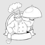 Chef-kok met schotel in het teken. Tekeningsstijl uit de vrije hand Royalty-vrije Stock Fotografie