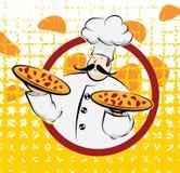 Chef-kok met twee pizza's royalty-vrije stock afbeeldingen