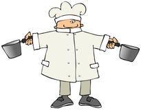 Chef-kok met Twee Potten royalty-vrije illustratie