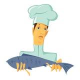 Chef-kok met vissen Stock Afbeelding