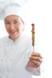 Chef-kok met vleespen Stock Afbeelding