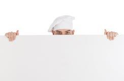 Chef-kok met witte lege raad Royalty-vrije Stock Foto