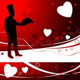 Chef-kok op de dagachtergrond van de Valentijnskaart Royalty-vrije Stock Fotografie
