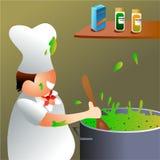 Chef-kok op het werk Stock Foto