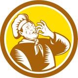 Chef-kokcook Baker Belissimo Smiling Retro Cirkel vector illustratie