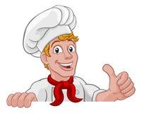Chef-kokcook Baker Thumbs Up Beeldverhaal stock illustratie
