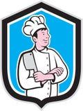 Chef-kokcook Holding Knife Arms Gekruist Beeldverhaal Stock Fotografie