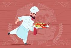 Chef-kokcook Holding Tray With Lobster Smiling Cartoon Leider in Wit Restaurant Eenvormig over Houten Geweven Achtergrond Royalty-vrije Stock Foto's