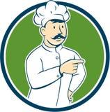 Chef-kokcook Mustache Pointing Circle Beeldverhaal Stock Afbeeldingen
