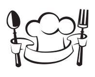 Chef-kokhoed, lepel en vork vector illustratie