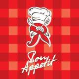 Chef-kokhoed, vork en lepel Royalty-vrije Stock Afbeeldingen
