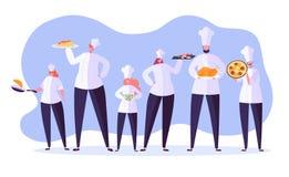 Chef-kokkarakters Beeldverhaal belangrijkst kokend restaurant vector illustratie