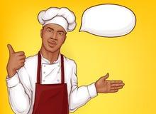 Chef-kokkok het welkom heten de vector van restaurantcliënten stock illustratie