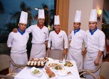 Chef-koks bij restaurant Royalty-vrije Stock Afbeelding