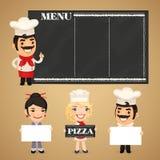 Chef-koks die Lege Banners voorstellen Royalty-vrije Stock Foto's
