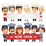 Chef-koks die Lege Horizontale Banner voorstellen Royalty-vrije Stock Afbeelding