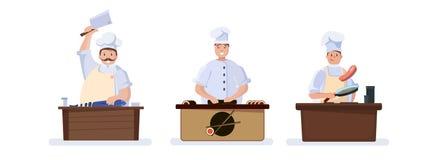 Chef-koks die vlees, sushi, vissen koken vector illustratie