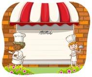 Chef-koks en menu Royalty-vrije Stock Afbeeldingen