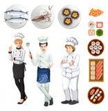 Chef-koks en verschillende schotels van voedsel Stock Fotografie