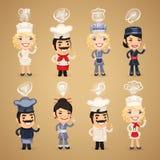 Chef-koks met Geplaatste Pictogrammen Royalty-vrije Stock Foto's