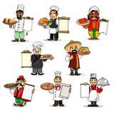 Chef-koks vectorpictogrammen en restaurantmenu royalty-vrije illustratie