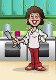 Chef lady holding spatula Royalty Free Stock Photo
