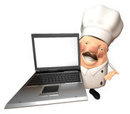 Chef with a laptop Royalty Free Stock Images