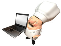 Chef with a laptop Stock Image