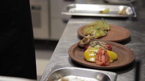 Chef lay out on plate vegetables frying on grill in big modern kitchen stock footage