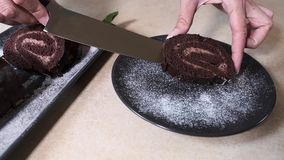 Chef lays out  chopped chocolate swiss roll. Swiss Roll decorated with raspberries. Pastry stock video